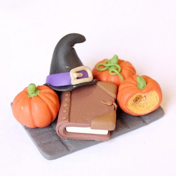 Tutoriel Halloween avec de la pâte FIMO citrouille, chapeau