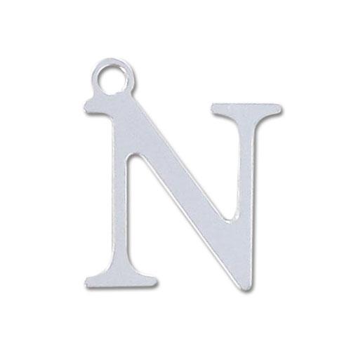 Breloque lettre n 15 mm en argent 925 x1 breloques - Experte en composants 15 lettres ...