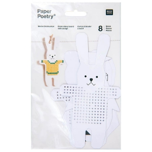 Cartons à broder Lapin/Ourson/Pingouin/Chouette x8