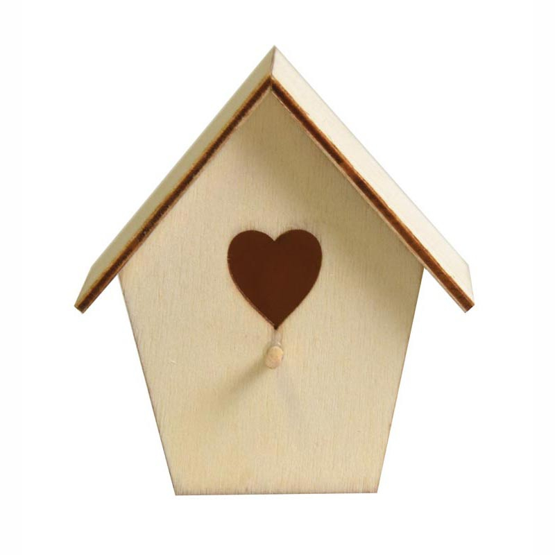 Nichoir miniature avec ouverture coeur en bois d corer x2 arte perles - Nichoir en bois a decorer ...