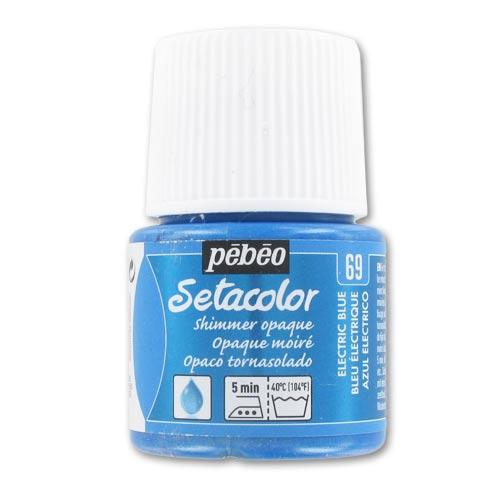 peinture setacolor opaque moir bleu electrique n 69 x45ml p b perles co. Black Bedroom Furniture Sets. Home Design Ideas