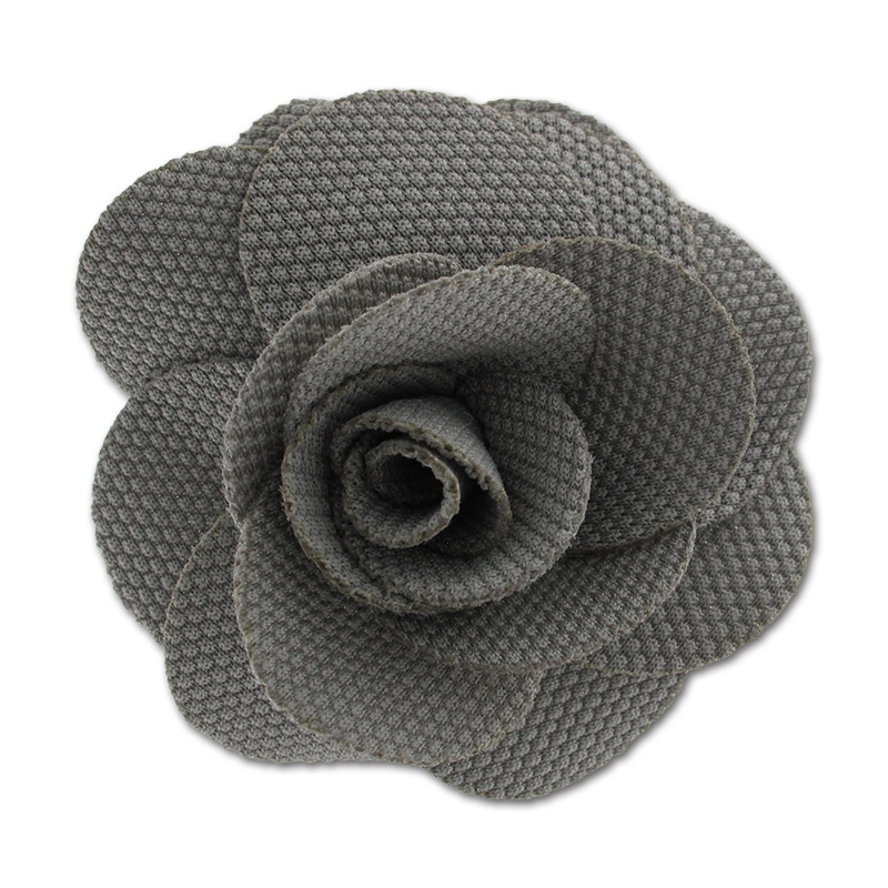 broche fleur en tissu 65 mm gris perles co. Black Bedroom Furniture Sets. Home Design Ideas