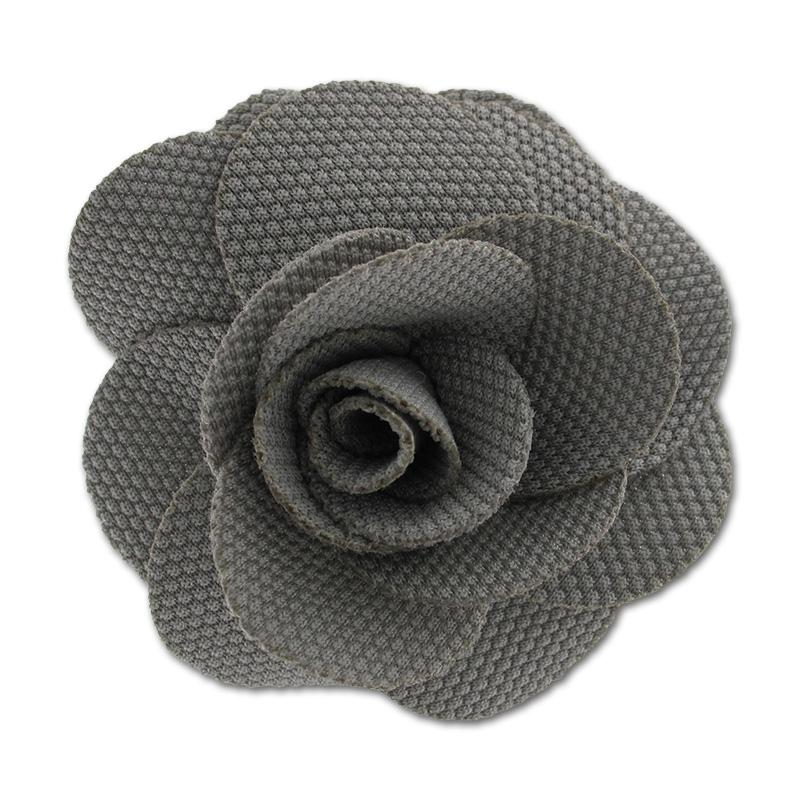 broche fleur en tissu 65 mm gris perles co. Black Bedroom Furniture Sets. Home Design Ideas