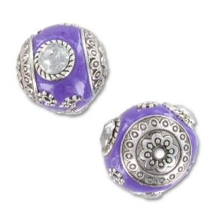 Perle ronde 18 mm Violet strass Crystal x1
