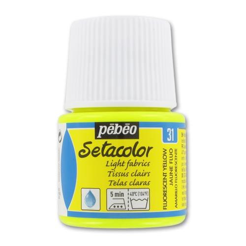 peinture setacolor tissus clairs jaune fluo n 31 x45ml p b o perles co. Black Bedroom Furniture Sets. Home Design Ideas