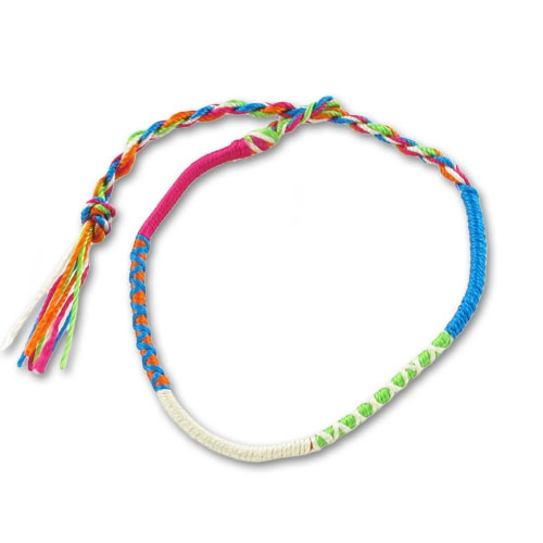 taille 40 06bd3 04c89 Bracelet tresse indienne 3 mm Fuchsia/Turquoise x1
