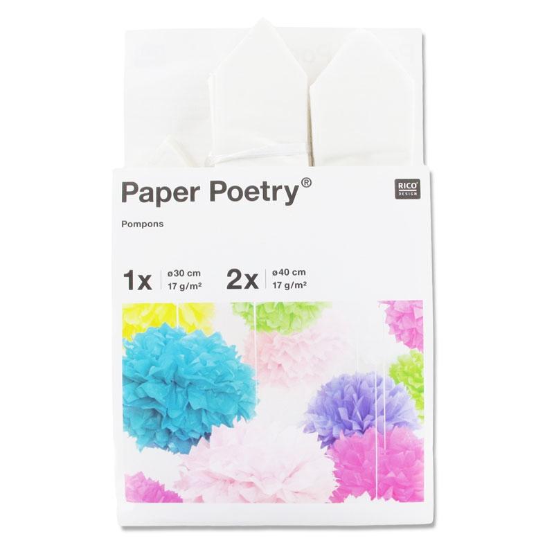 lot pompons en papier de soie paper poetry 30 cm et 40 cm. Black Bedroom Furniture Sets. Home Design Ideas