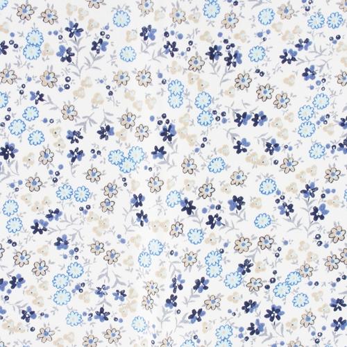Coupon de tissu thermocollant fleuri 21x29 7 cm beige bleu x1 perles co - Tissus fleuris anglais ...