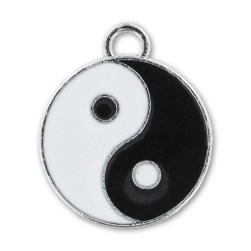 pendentif r sine poxy yin yang 23 mm noir blanc x1 perles co. Black Bedroom Furniture Sets. Home Design Ideas
