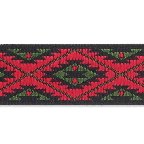 Galon Jacquard Motifs Incas 15 Mm Rouge Olive X1m Perles