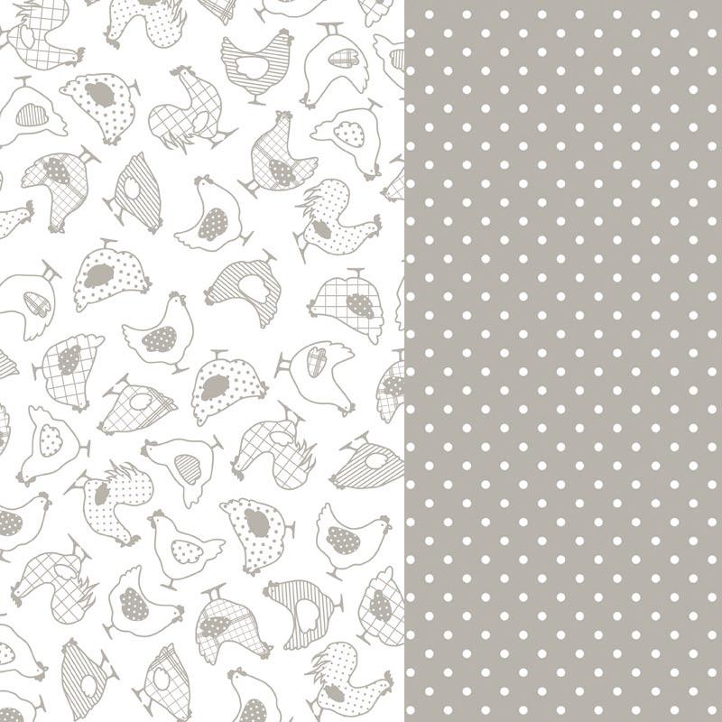 feuilles de papier d coratif coller poules gris x2. Black Bedroom Furniture Sets. Home Design Ideas