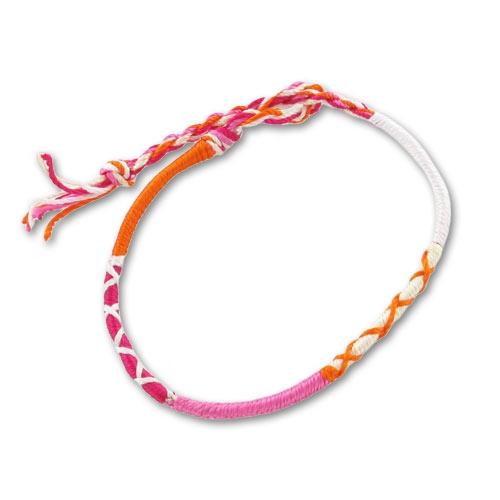 bracelet tresse indienne 3 mm rose orange x1 perles co. Black Bedroom Furniture Sets. Home Design Ideas