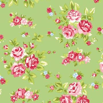 tissu fleurs vert rose x10cm rico design perles co. Black Bedroom Furniture Sets. Home Design Ideas