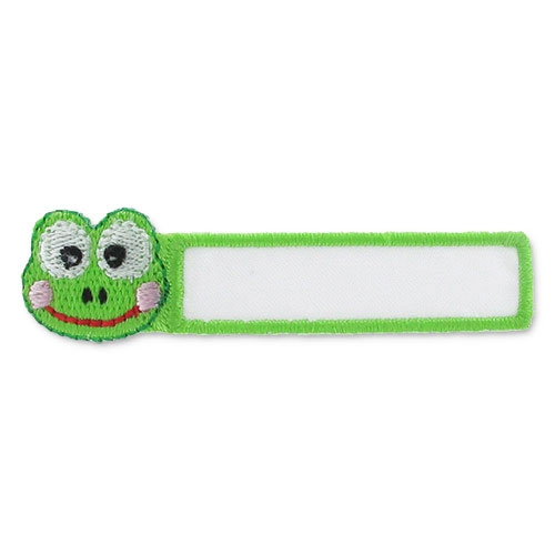 ecusson thermocollant etiquette nom grenouille 56x18 mm vert x1 perles co. Black Bedroom Furniture Sets. Home Design Ideas