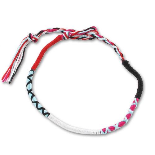 bracelet tresse indienne 3 mm noir fuchsia aqua x1 perles co. Black Bedroom Furniture Sets. Home Design Ideas
