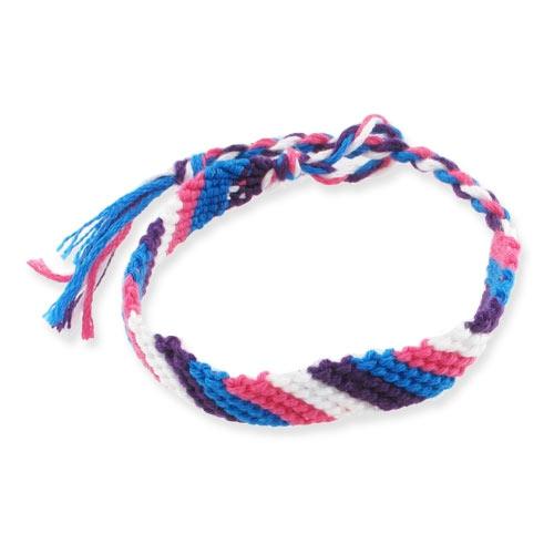 Bracelet br silien en diagonale 10 mm violet bleu rose blanc x1 perles co - Longueur fil bracelet bresilien ...