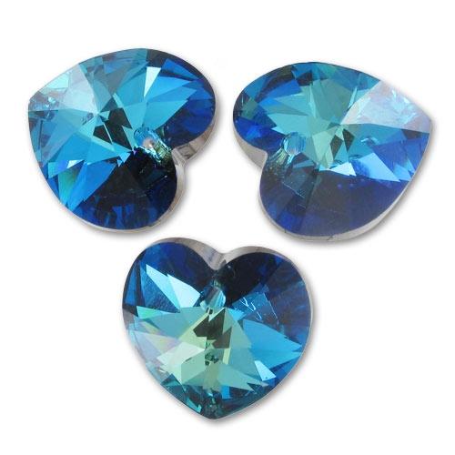 **6 perles Coeurs 10.3 x 10 mm   SWAROVSKI   SAPPHIRE  6228  ***