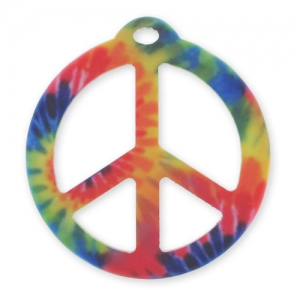 Pendentif Peace 42 mm tie and dye Multicolore Mat x1