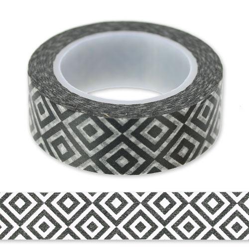 Ruban adh sif 15 mm g om trique noir blanc x10m perles co for Adhesif geometrique