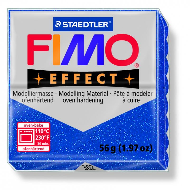 Pâte FIMO Effect Bleu Pailleté 302 57gr Neuf