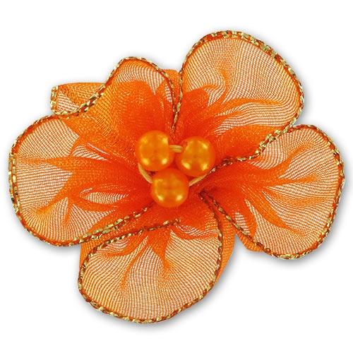 fleur organza 40 mm orange x1 perles co. Black Bedroom Furniture Sets. Home Design Ideas