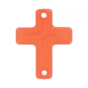 Intercalaire croix 2 trous 21 mm Orange Opal x1