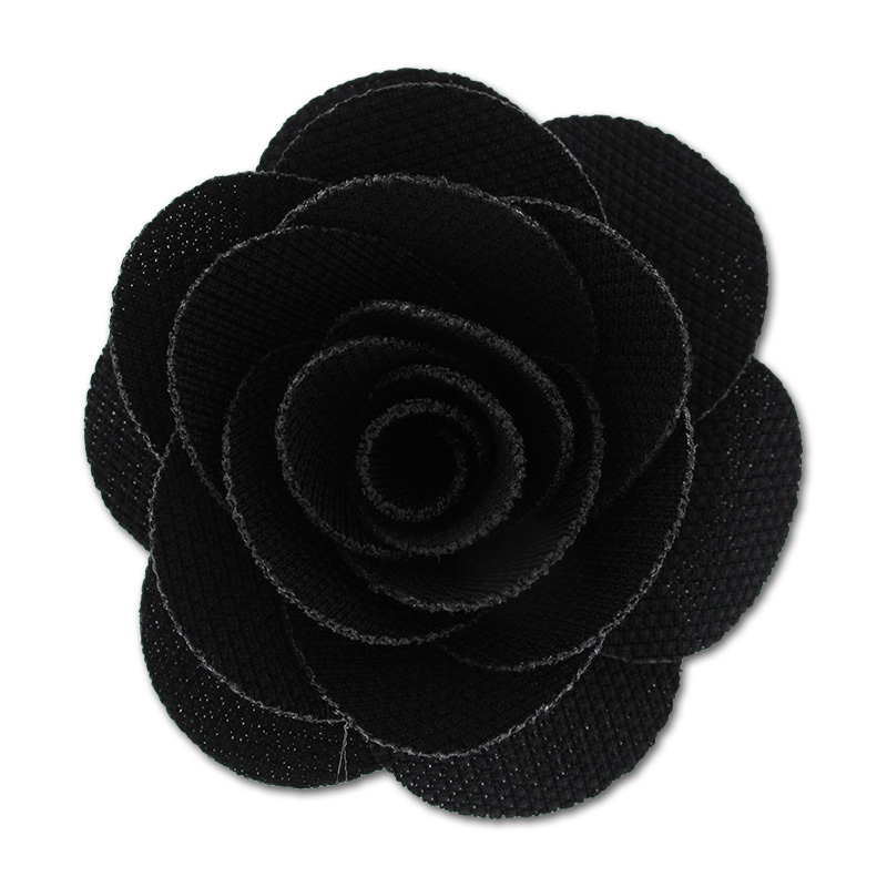 broche fleur en tissu 65 mm noir perles co. Black Bedroom Furniture Sets. Home Design Ideas
