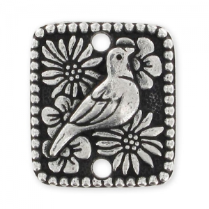 Intercalaire rectangle oiseau 2 trous 15x13 mm argenté vieilli x1