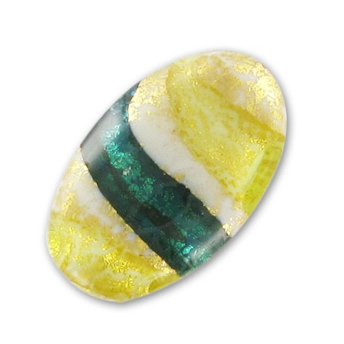 Olive murano 24x15 mm feuille d 39 or lira aqua x1 perles co for Feuille inox a coller