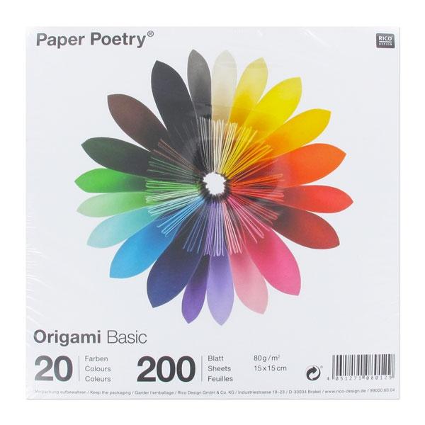 assortiment de papiers origami basic 15x15 cm 20 couleurs x200 p perles co. Black Bedroom Furniture Sets. Home Design Ideas