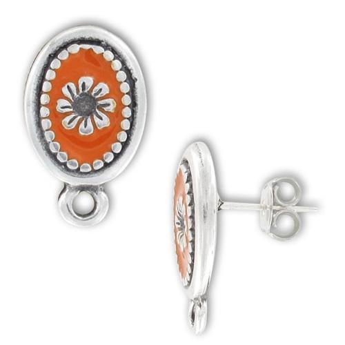 clous d 39 oreilles r sine poxy 21 mm argent vieilli orange x2 perles co. Black Bedroom Furniture Sets. Home Design Ideas