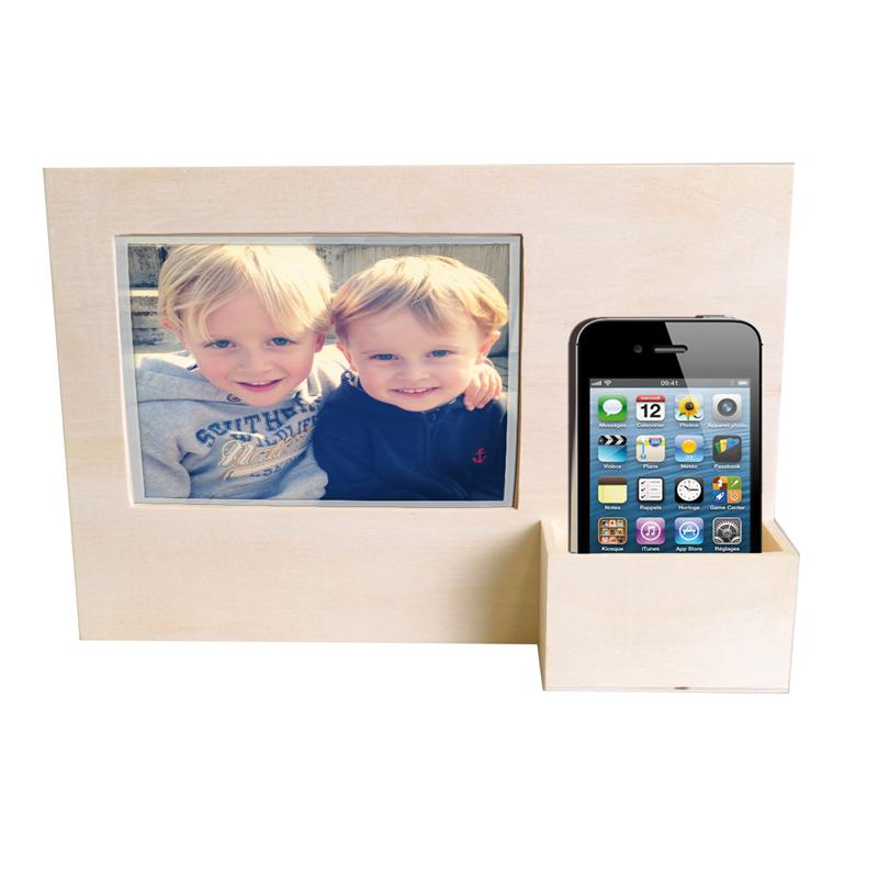 Cadre photo en bois avec porte t l phone d corer for Porte telephone