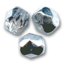 Facettes 6 mm Crystal Argent x25