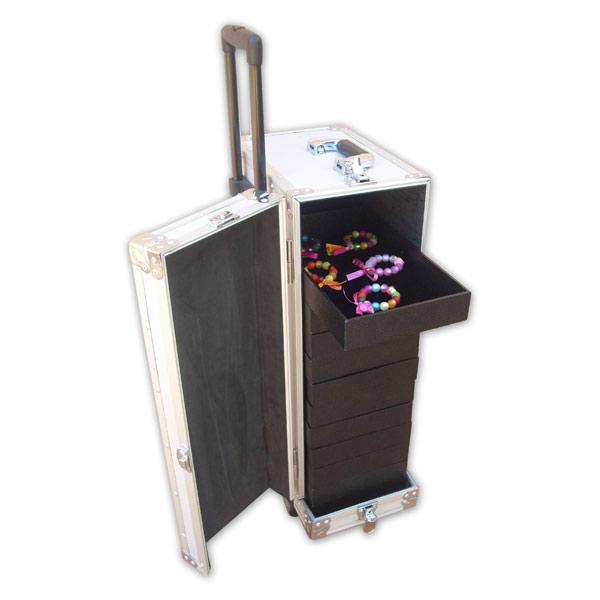 valise malette bijoux alu serrure et roulettes grand. Black Bedroom Furniture Sets. Home Design Ideas