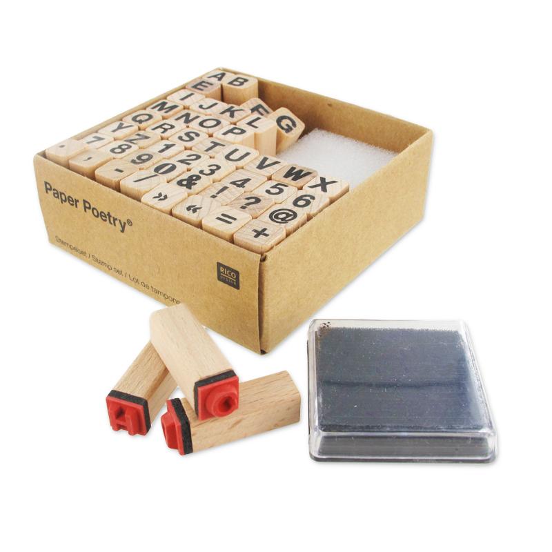 set de 48 tampons en bois avec encreur lettres et. Black Bedroom Furniture Sets. Home Design Ideas