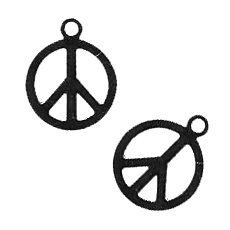 Breloque laser cut peace 11 mm black nickel x1