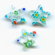 Etoiles Millefiori 10 mm Crystal/Multicolore  x5