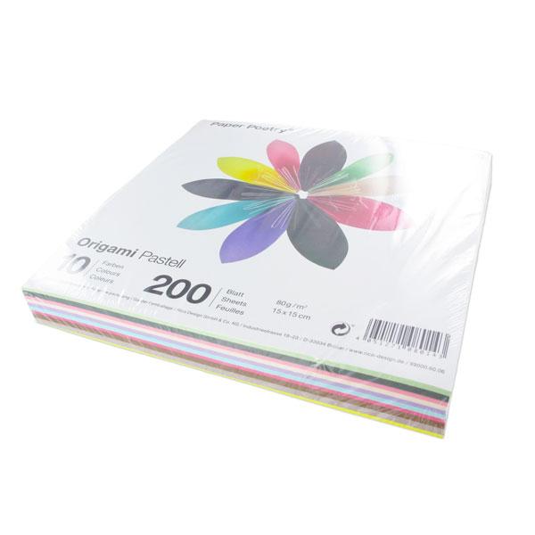 assortiment de papiers origami pastell 15x15 cm 10 couleurs x200 perles co. Black Bedroom Furniture Sets. Home Design Ideas