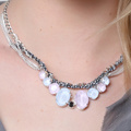 Collier cabochons Swarovski Crystal Powder Blue et Rose