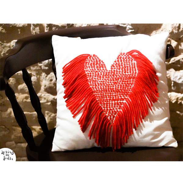 Coussin Coeur en Laine Saint Valentin s