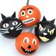 Halloween - Décoration balles chat noir et potiron