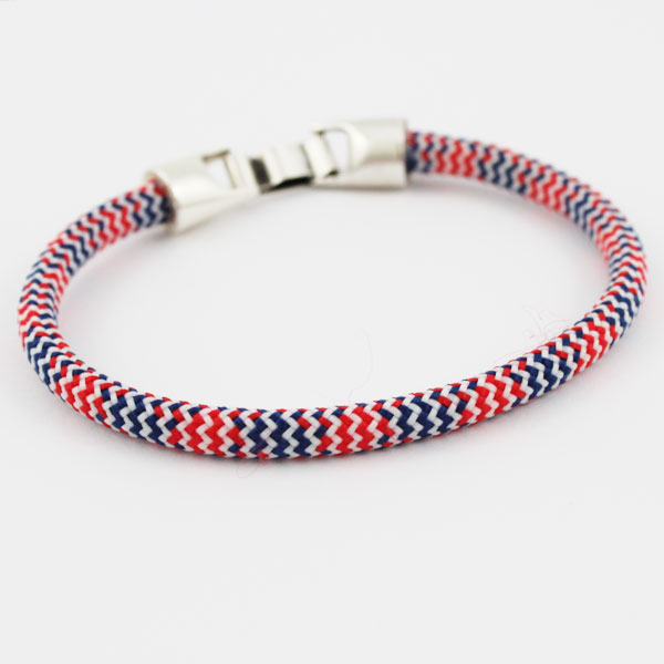 tuto bracelet corde tress e pour homme bleu blanc rouge perles co. Black Bedroom Furniture Sets. Home Design Ideas