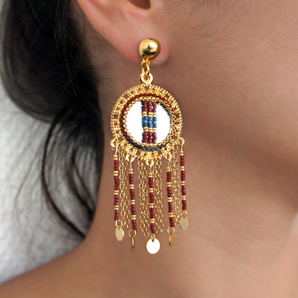 boucles d 39 oreilles miroirs perles miyuki tissage peyote brick stit perles co. Black Bedroom Furniture Sets. Home Design Ideas