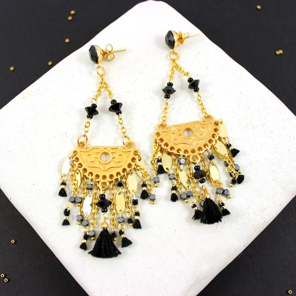 technologies sophistiquées bébé design intemporel Boucles d'oreilles swarovski chandeliers doré, mini perles ...