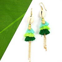 Boucles d'oreilles triple pompon jungle