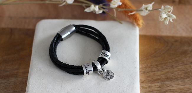 Bracelet pour homme en cuir avec prénoms gravés , Perles \u0026 Co