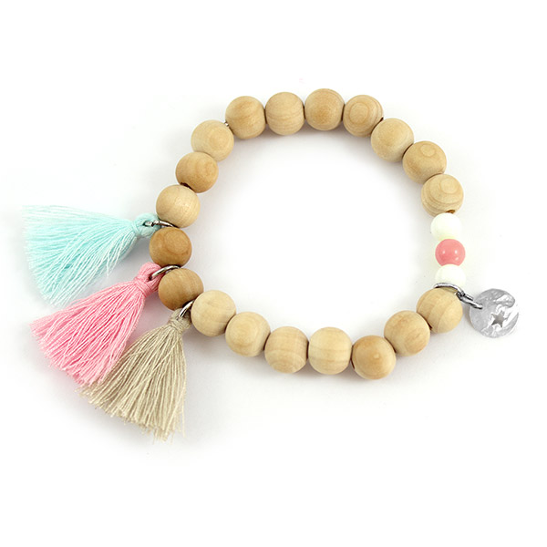 Bracelet lastique perles en bois pompons et sequin toile perles co - Comment faire des bracelets en elastique ...