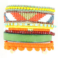 Bracelet Multirangs Tropical orange et lacet cuir vert