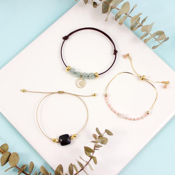 Bracelets Ajustables Nœuds Coulissants Miyuki Et Gemmes Perles Co