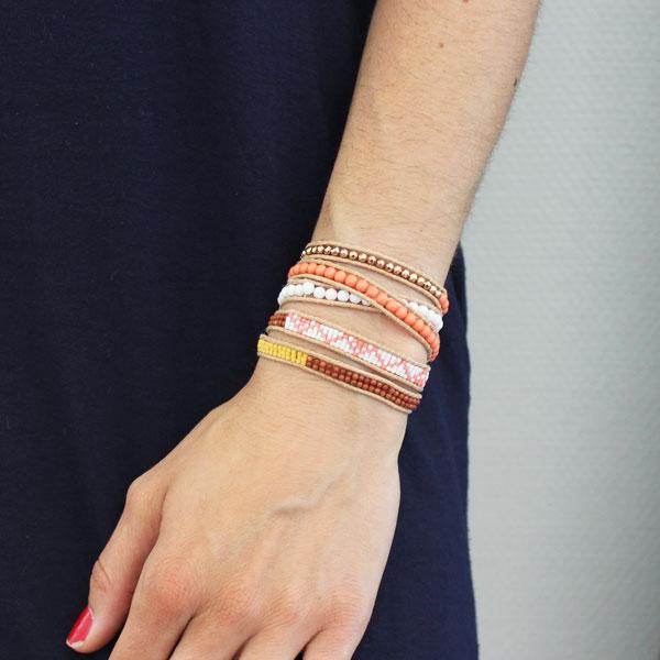 tuto bracelet wrap en cuir 5 tours avec un coquillage cauri et des perles co. Black Bedroom Furniture Sets. Home Design Ideas
